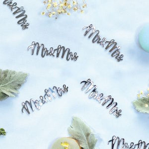 JUMBO Confetti Table Scatters - MR & MRS - SILVER