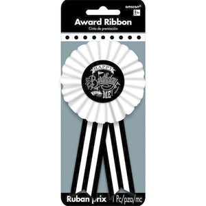 Award Ribbon - BLACK & WHITE HAPPY BIRTHDAY
