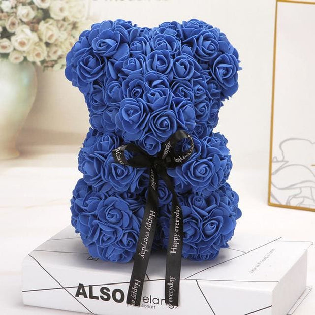 Adorable Roses Teddy Bear - Blue 25cm - Christmas