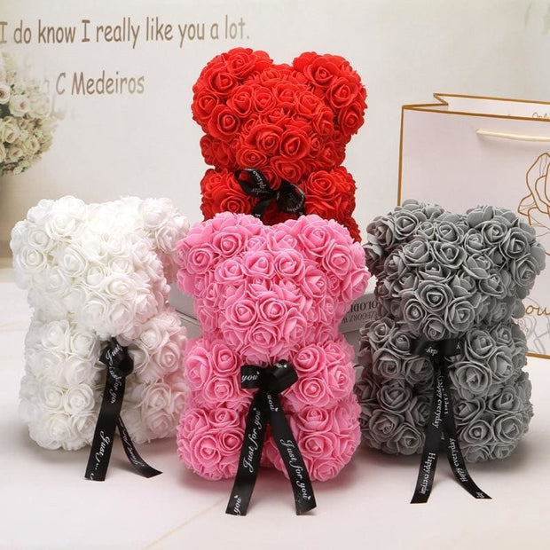 Adorable Roses Teddy Bear - Christmas