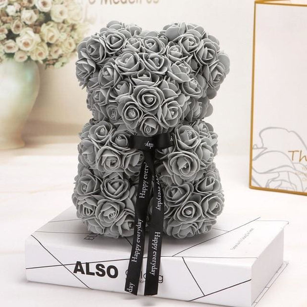 Adorable Roses Teddy Bear - Gray 25cm - Christmas