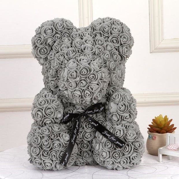 Adorable Roses Teddy Bear - Gray 40cm - Christmas