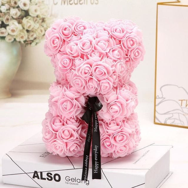 Adorable Roses Teddy Bear - Light Pink 25cm - Christmas