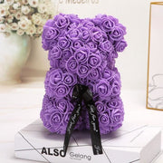 Adorable Roses Teddy Bear - Purple 25cm - Christmas