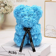 Adorable Roses Teddy Bear - Sky Blue 25cm - Christmas