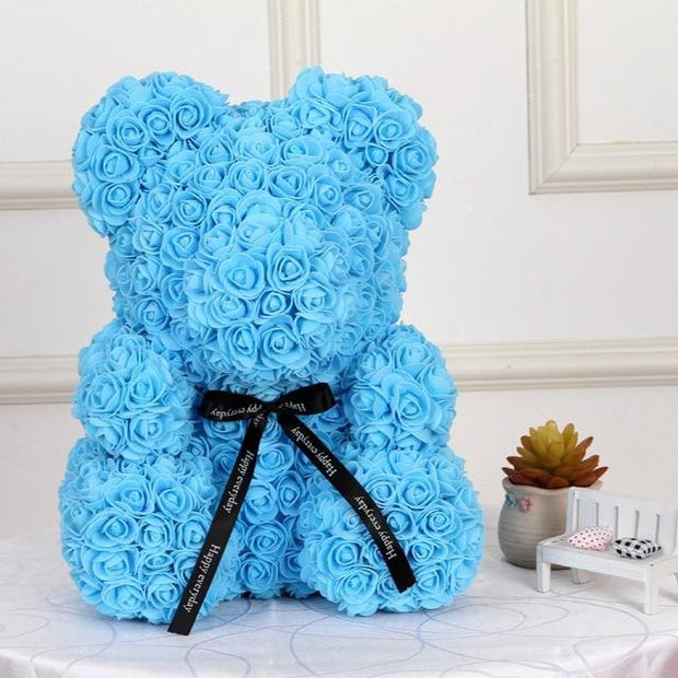 Adorable Roses Teddy Bear - Sky Blue 40cm - Christmas