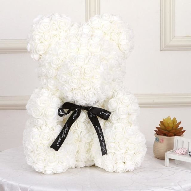 Adorable Roses Teddy Bear - Whit 40cm - Christmas