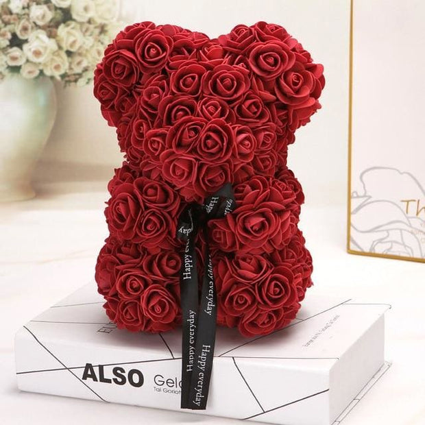 Adorable Roses Teddy Bear - Wine Red 25cm - Christmas