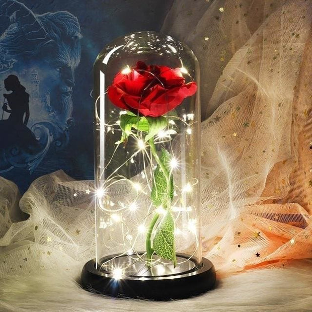 Beauty And The Beast Rose In A Glass Dome - black base - Christmas