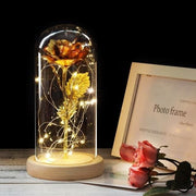 Beauty And The Beast Rose In A Glass Dome - gold - Christmas