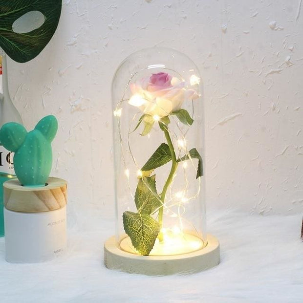 Beauty And The Beast Rose In A Glass Dome - white with pink - Christmas