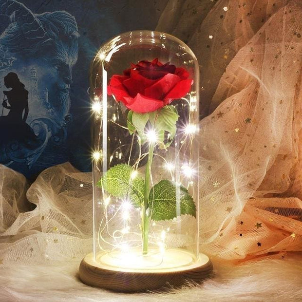 Beauty And The Beast Rose In A Glass Dome - wood base - Christmas