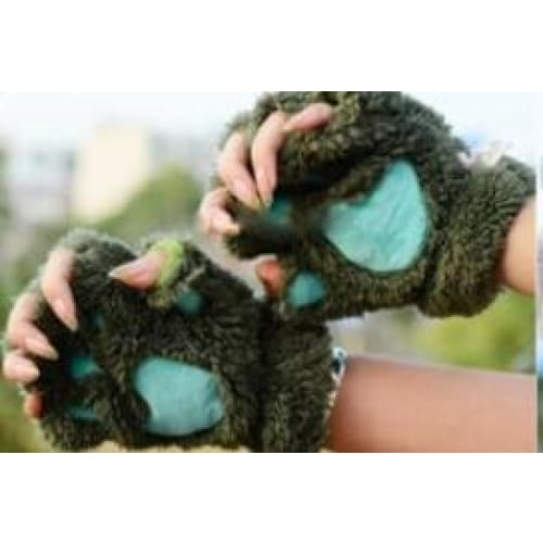 Cat Paw Mittens Gloves - Army Green