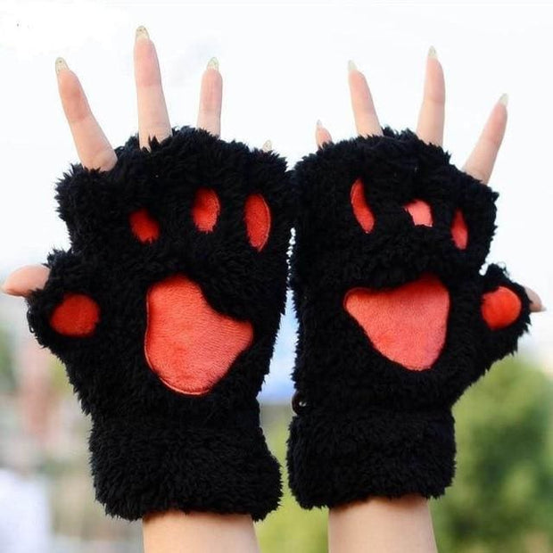Cat Paw Mittens Gloves - Black