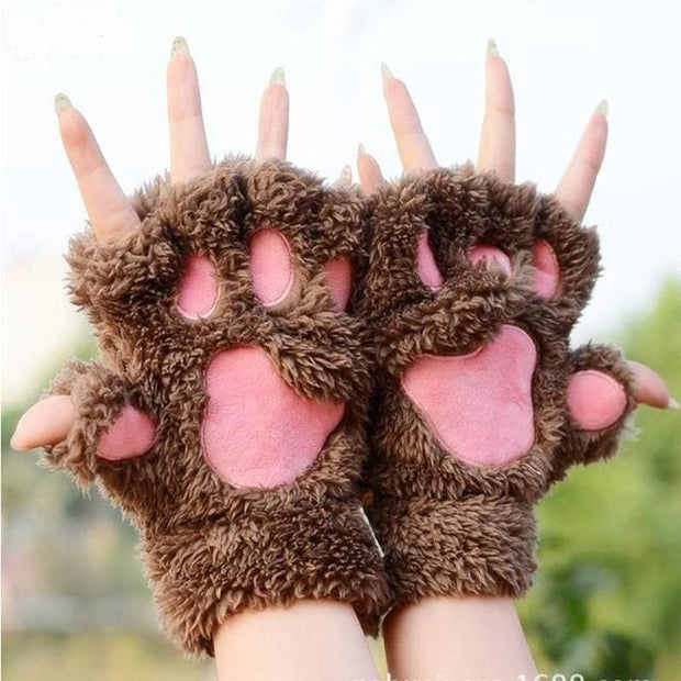 Cat Paw Mittens Gloves - coffee