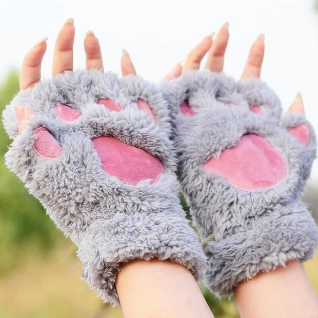 Cat Paw Mittens Gloves - Gray