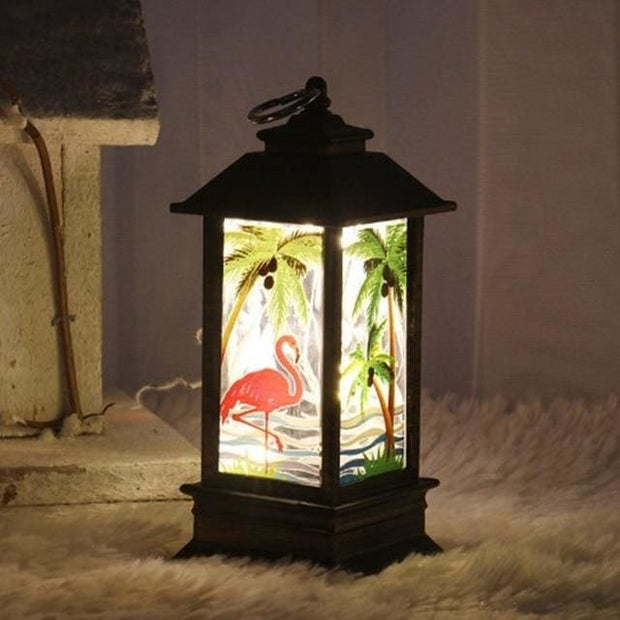 Christmas Candle LED Lantern - Flamingo - Christmas