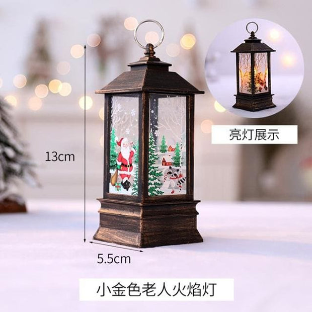 Christmas Candle LED Lantern - Gold - Christmas