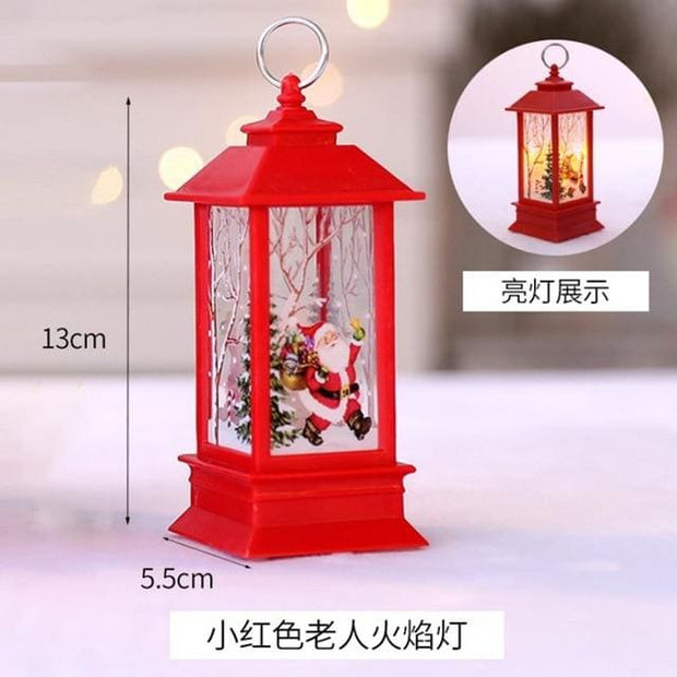 Christmas Candle LED Lantern - Pink - Christmas