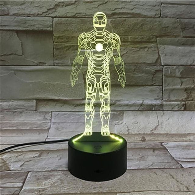 Iron Man Multicolour LED 3D Lamp - 2 / TOUCH 7 COLORS SET - Christmas