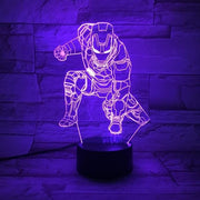 Iron Man Multicolour LED 3D Lamp - 5 / TOUCH 7 COLORS SET - Christmas