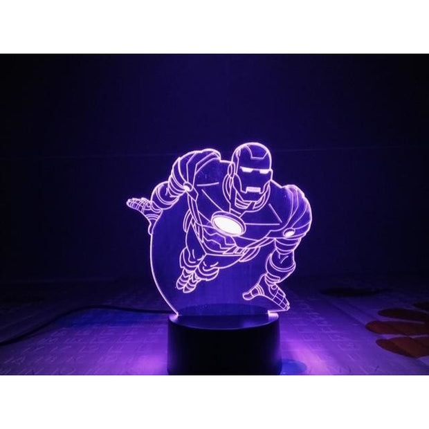Iron Man Multicolour LED 3D Lamp - 6 / TOUCH 7 COLORS SET - Christmas