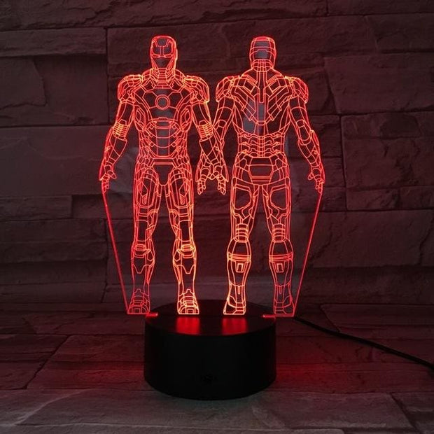 Iron Man Multicolour LED 3D Lamp - 8 / TOUCH 7 COLORS SET - Christmas