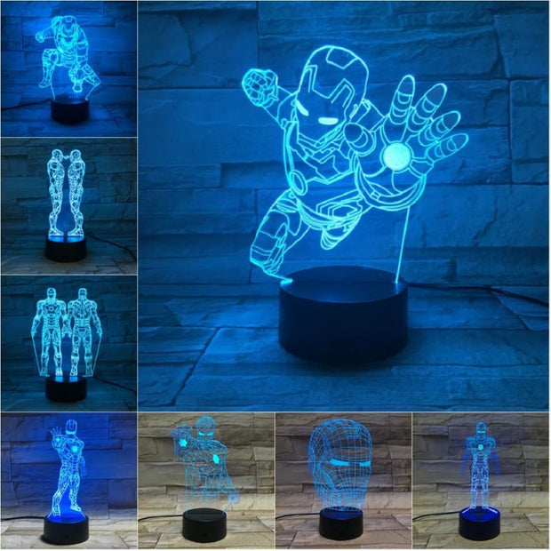 Iron Man Multicolour LED 3D Lamp - Christmas
