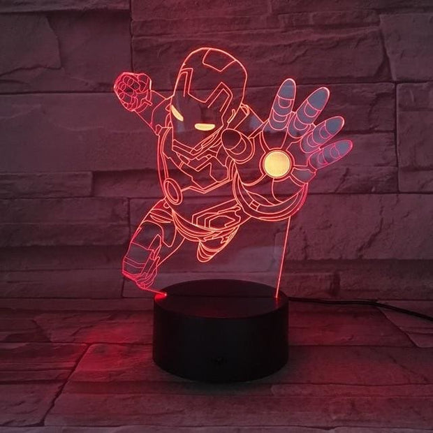 Iron Man Multicolour LED 3D Lamp - Iron man / TOUCH 7 COLORS SET - Christmas