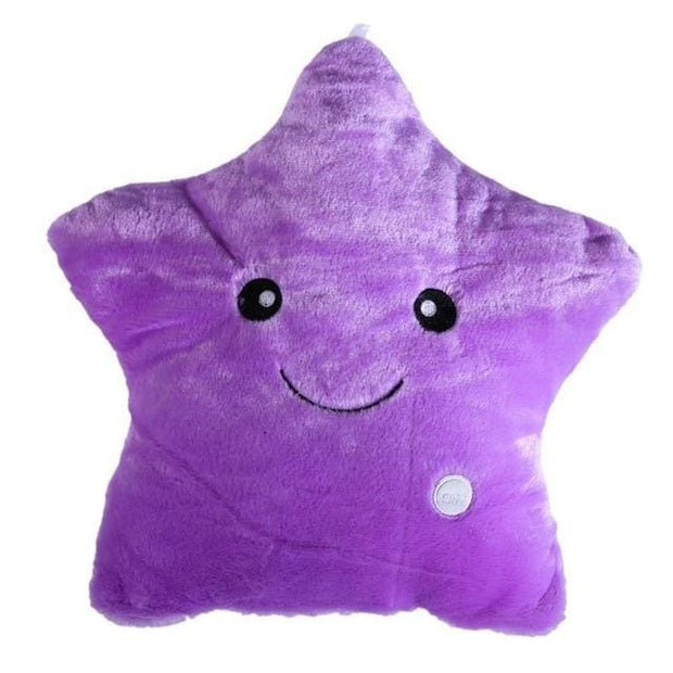Light Up LED Star Cushions - Purple / 40x35cm - Christmas