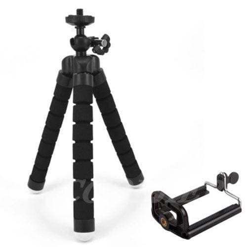Mini Flexible Tripod for Smart Phone and Camera - black with clip - Cool Gadgets