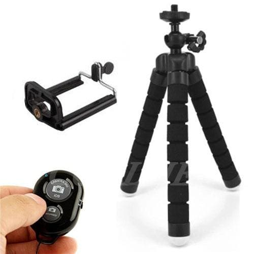 Mini Flexible Tripod for Smart Phone and Camera - black with clip and remote - Cool Gadgets