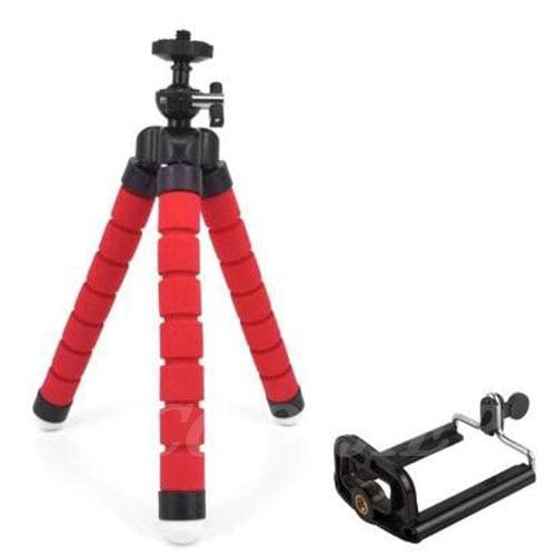 Mini Flexible Tripod for Smart Phone and Camera - red with clip - Cool Gadgets