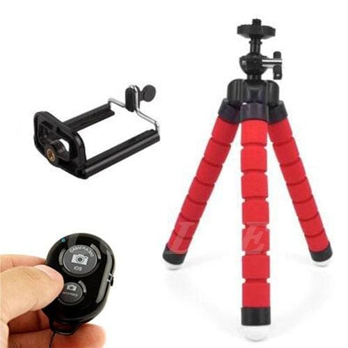 Mini Flexible Tripod for Smart Phone and Camera - red with clip and remote - Cool Gadgets