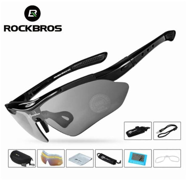 Polarized Sports Outdoor Sunglasses - Light black glasses - Fashion & Accessories