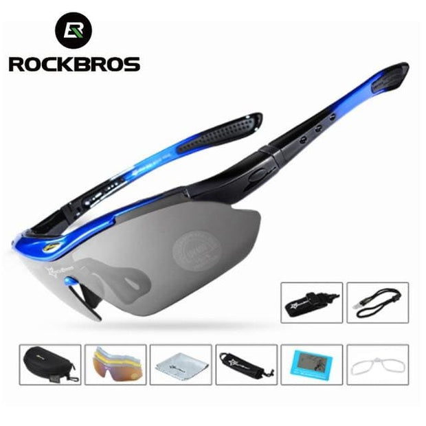 Polarized Sports Outdoor Sunglasses - Medium blue glasses - Fashion & Accessories