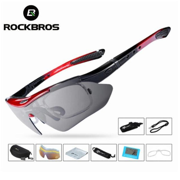 Polarized Sports Outdoor Sunglasses - Medium red glasses - Fashion & Accessories