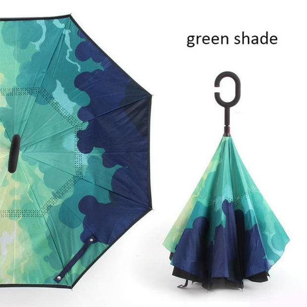 Reverse Inverted Umbrella - green shade - Cool Gadgets