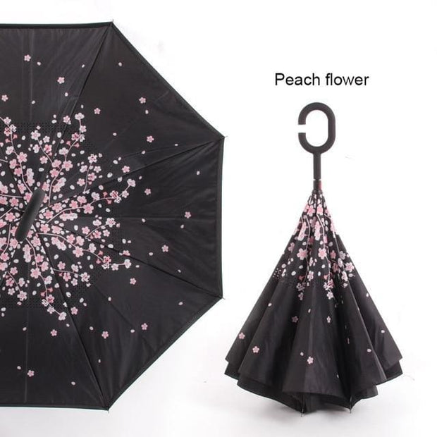 Reverse Inverted Umbrella - peach flower - Cool Gadgets