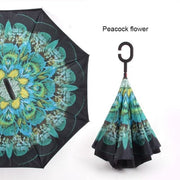 Reverse Inverted Umbrella - peacock flower - Cool Gadgets