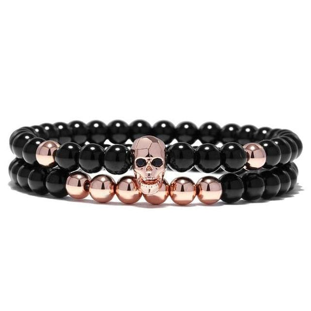Yoga Skull Charm Bracelet - rose gold - Fashion & Accessories