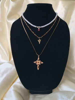 Payla Ruby Cross Necklace