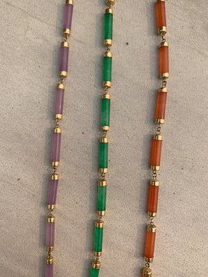 14kt Gold Multi Colored Jade Bracelet