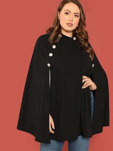 Career Trendy Double Breasted Front Cape Coat