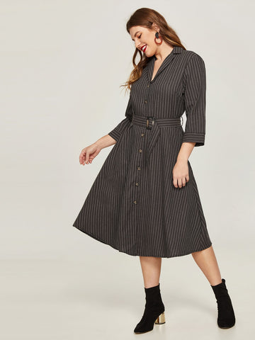 Career Modern  Midi Swing Notched Belted Striped Gray Dress *Imported