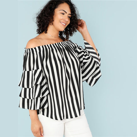Womens Black And White Stripe Off The Shoulder Blouse  Layered Butterfly Sleeve *Imported