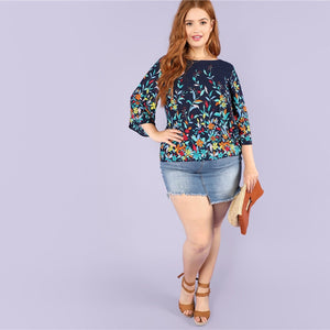 Womens Floral Print Navy  Round Neck  Blouse Botanical Print *Imported