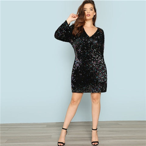 Women Bodycon Iridescent Sequin Formal Party Dress Black Sexy V Neck  *Imported