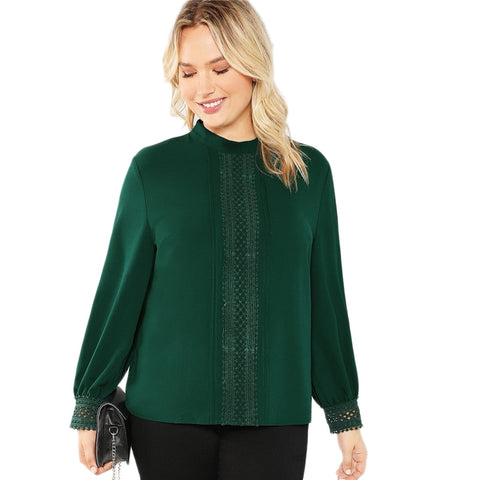 Womens Career Holiday Green Stand Collar Lace Applique Blouse *Imported