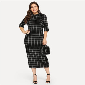 Womens Plaid Bodycon  Long Midi Pencil  Career Lady Collar Grid Print Slim Fit Dress *Imported